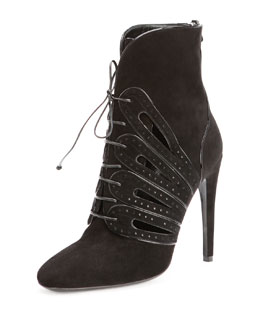 Bottega Veneta Suede Lace-Up Ankle Boot, Nero
