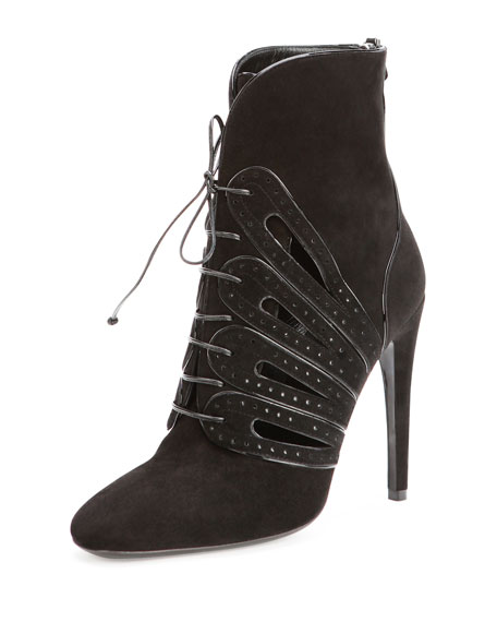 Suede Lace-Up Ankle Boot, Nero