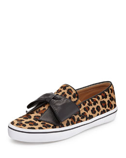 kate spade new york delise leopard-print bow slip-on