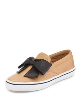 kate spade new york delise too bow slip-on sneaker, natural