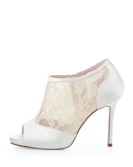 florentina lace peep-toe bootie, ivory
