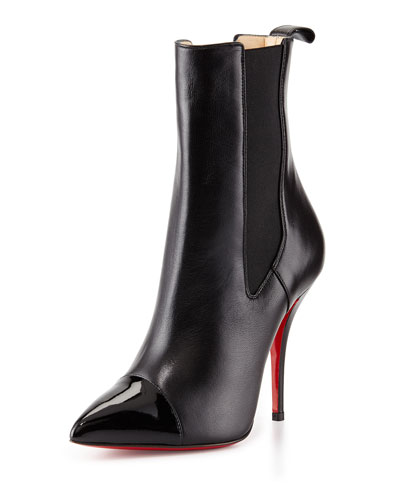 Christian Louboutin Tucson Cap-Toe Red Sole Ankle Boot, Black