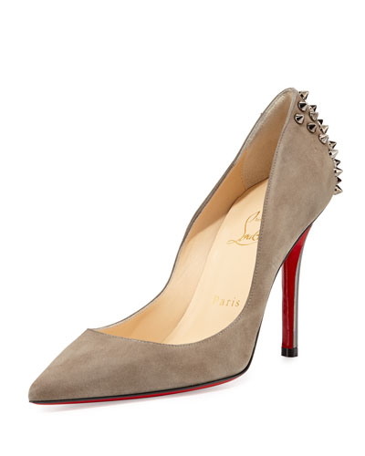 Christian Louboutin Zappa Suede Spiked Red Sole Pump, Cendre/Gunmetal