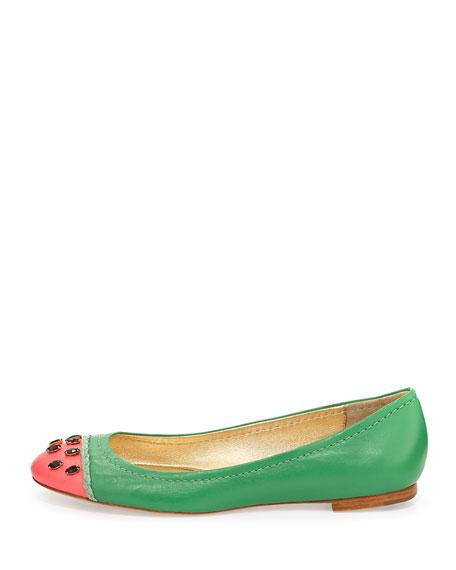 kate spade new york jade watermelon ballerina flat, grass green
