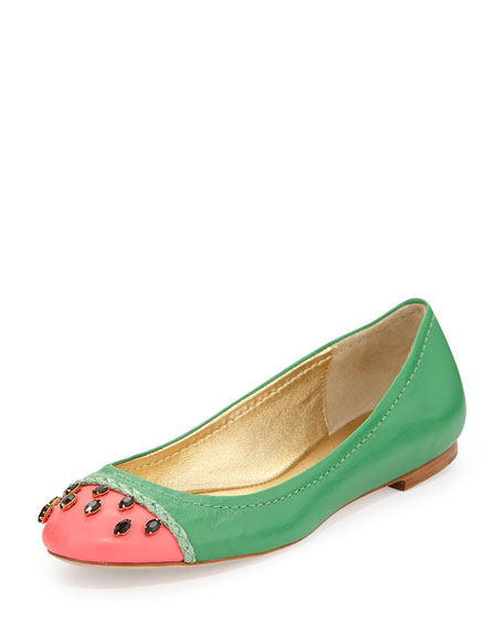 jade watermelon ballerina flat, grass green