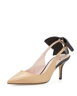 kate spade new york jax bow slingback pump, natural