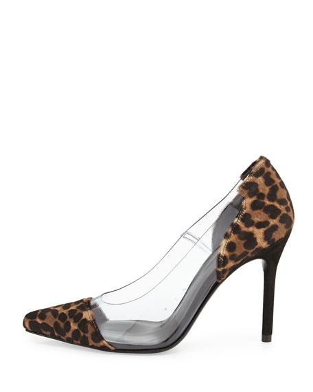 Onview PVC/Calf Hair Pointed-Toe Pump, Chocolate Feline