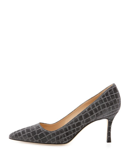 BB Metallic Croc-Print 70mm Pump, Anthracite