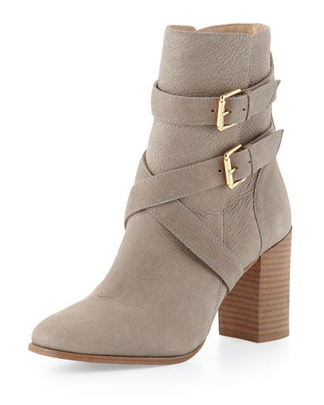 lexy double-buckle ankle boot, stone