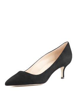 Manolo Blahnik BB Suede 50mm Pump, Charcoal (Made to Order)