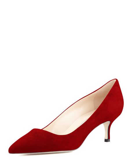 BB Suede 50mm Pump, Ruby (Made to Order)