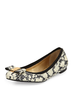 kate spade new york tock snake-print ballerina flat, black/cream