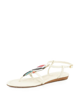 kate spade new york toucan flat thong sandal, cream