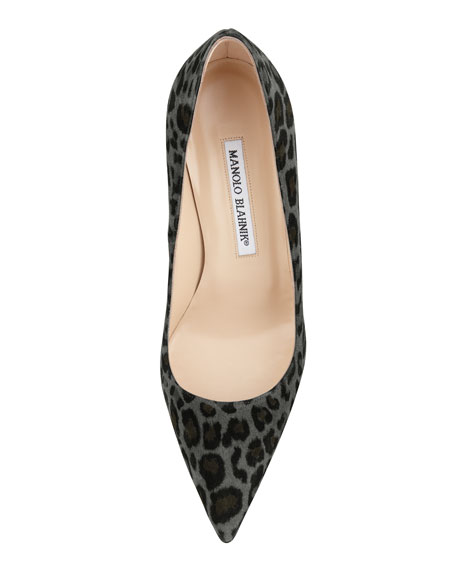 BB Suede 90mm Pump, Gray Leopard