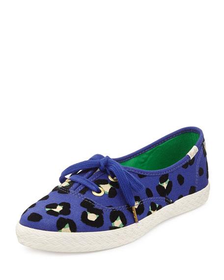Keds leopard-print canvas pointer sneaker, emperor blue