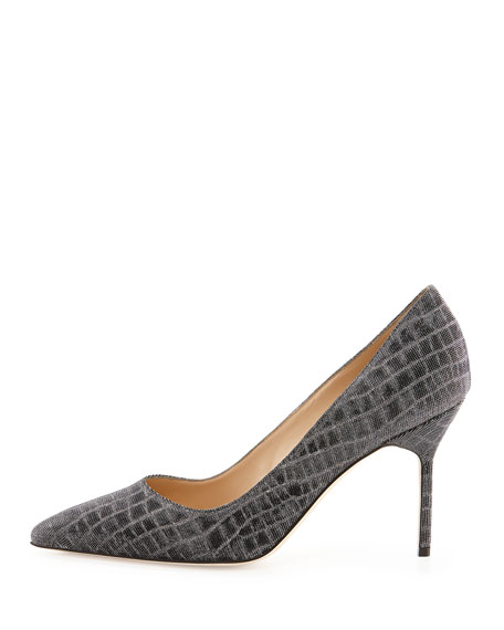 BB Metallic Croc-Print Fabric 90mm Pump, Anthracite