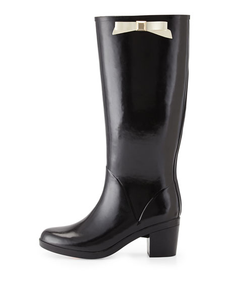 kate spade new york romi rubber bow rain boot, black