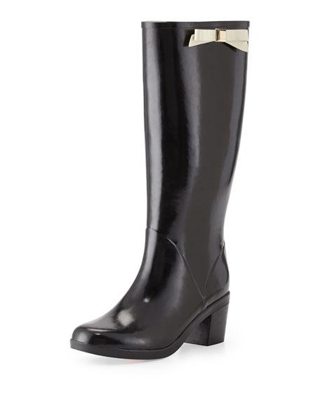 kate spade new york romi rubber bow rain boot, black