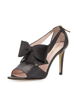 kate spade new york imelda peep-toe bow sandal, black