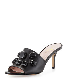 kate spade new york sadie crystal slide sandal, black