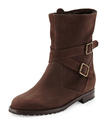 Manolo Blahnik Campocros Crisscross Belted Mid-Calf Boot with Shearling, Brown