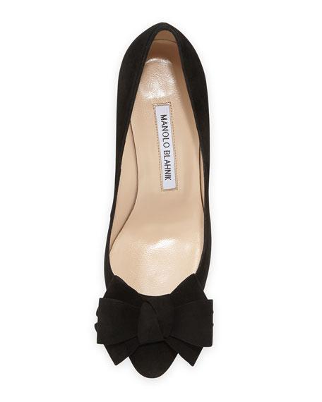 Lisanewbo Suede Mid-Heel Bow Pump, Black