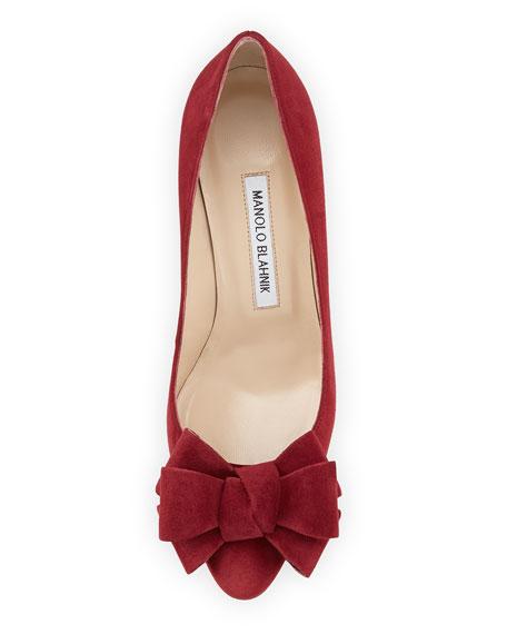 Lisanewbo Suede Mid-Heel Bow Pump, Red