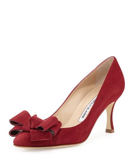Lisanewbo Suede Mid-Heel Bow Pump, Red