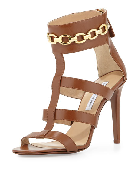 Uma Chain-Link Sandal, Brandy Brown