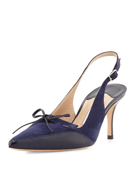 Drumma Pointed-Toe Suede Slingback Pump, Blue
