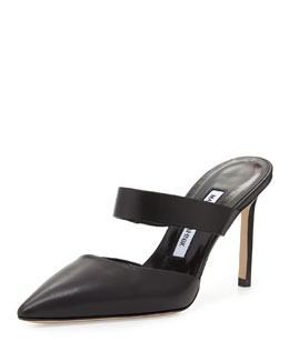 Manolo Blahnik Trovina Point-Toe Calfskin Slide Pump, Black