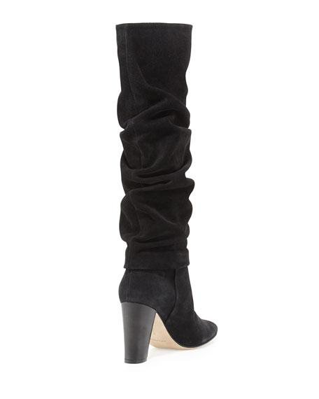 Brunchilee Scrunched Suede Knee Boot, Black