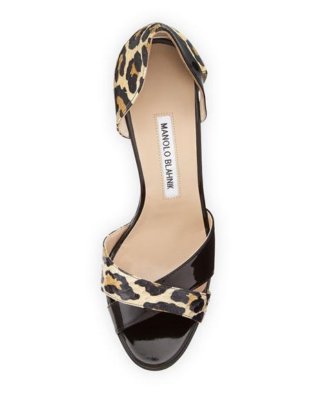 Audel Leopard-Print Snake d'Orsay Pump