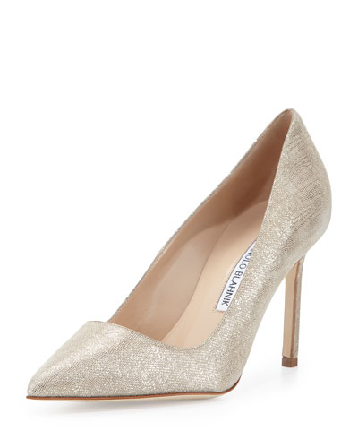 BB Linen-Printed Suede Pump