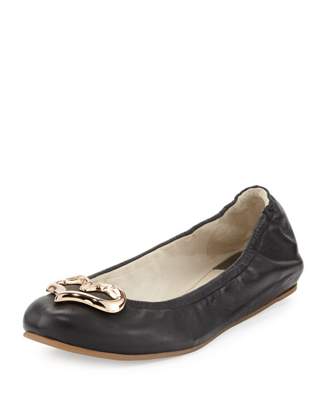Miami Flamingo Heart Ballerina Flat, Black