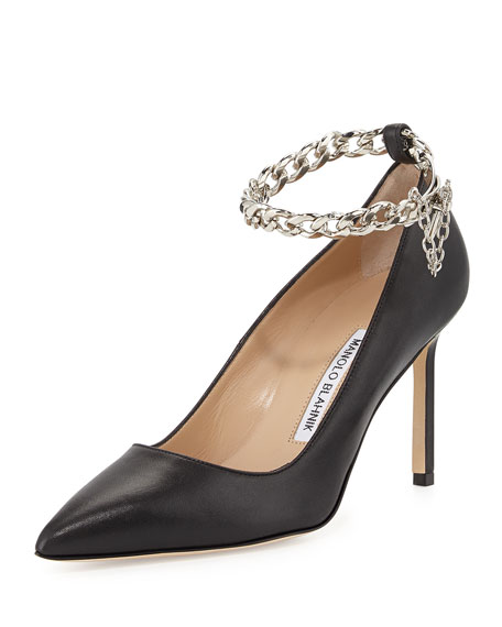 BB Chain 90mm Leather Pump, Black