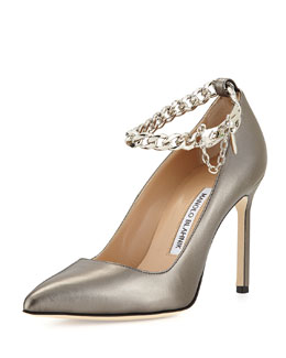 Manolo Blahnik BB Leather Pump with Chain Strap, Anthracite