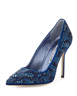 Manolo Blahnik BB Crystal Satin 105mm Pump, Blue