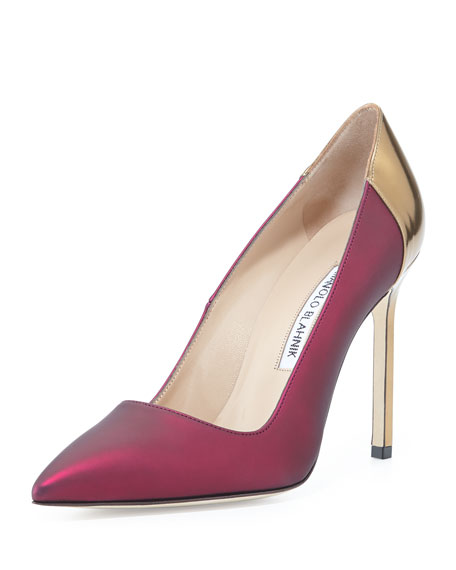 BB Coated Satin Combo Pump, Wine/Gold