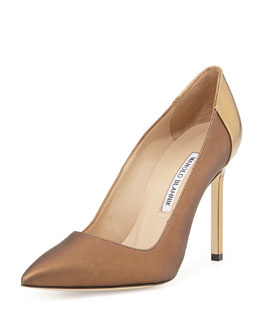 Manolo Blahnik BB Coated Satin Combo Pump, Brown