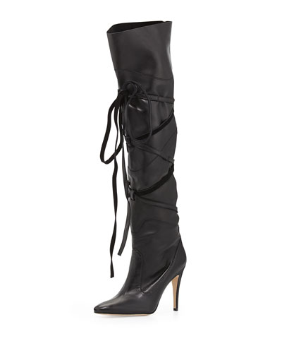 Manolo Blahnik Cavaba Wrapped Leather Over-the-Knee Boot, Black