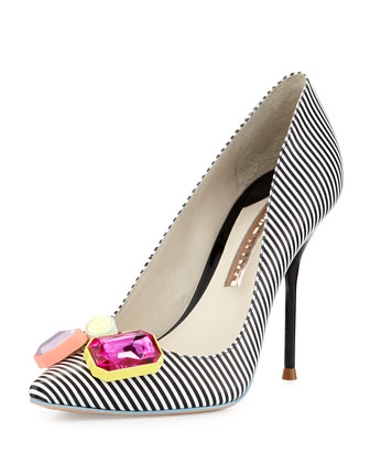 Sale alerts for Sophia Webster Lola Striped Crystal-Toe Pump, Black/White - Covvet