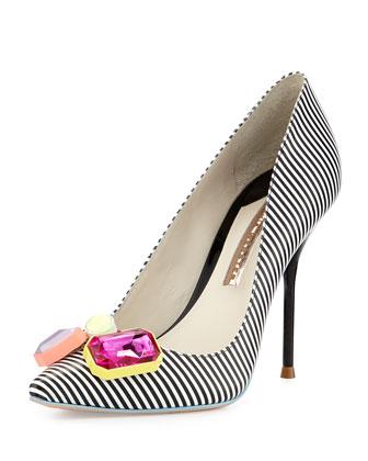 Sale alerts for Sophia Webster Lola Striped Crystal-Toe Pump, Black/White - Covvet