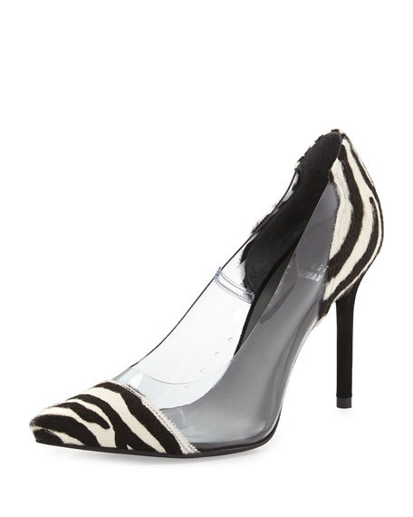 Onview PVC/Calf Hair Pointed-Toe Pump, Zebra