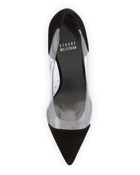 Onview PVC/Suede Pointed-Toe Pump, Black