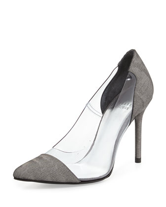 Stuart Weitzman Onview PVC/Shimmer Fabric Pointed-Toe Pump, Steel (Made to Order)