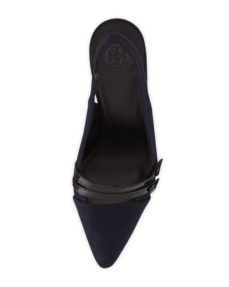 Kay Flannel Slingback Pump, Navy/Black