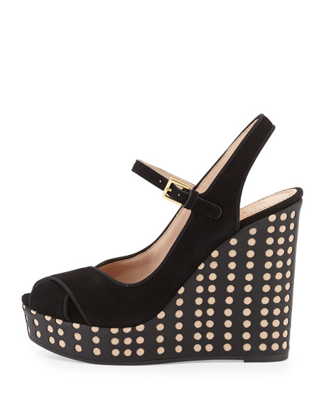 Ollie Suede Hole-Punch Wedge Sandal