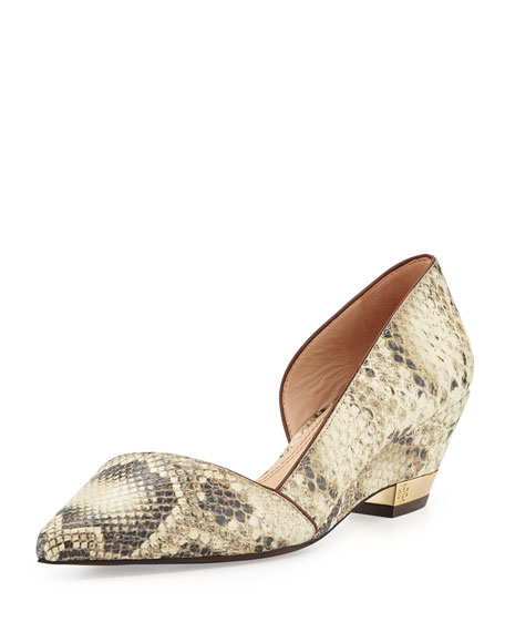 Mila Snake-Print Low-Wedge Pump