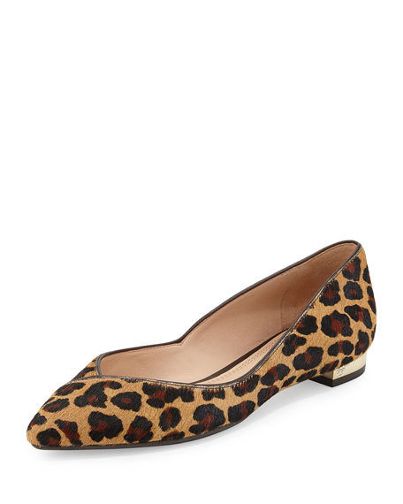 Niki Calf Hair Point-Toe Flat, Leopard